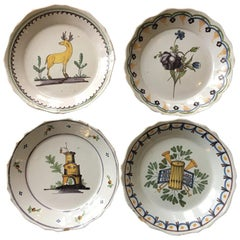 Set of Four Nevers French Faience Plates, 18th Century
