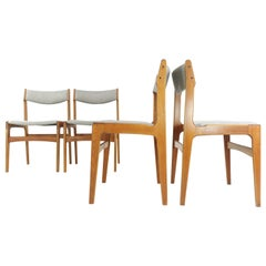 Set of Four Newly Upholstered Erik Buch Grey Herringbone Teak Dining Chairs