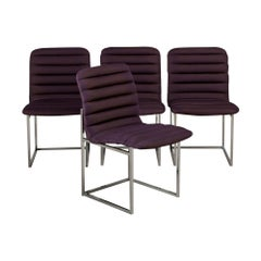 Set of Four Nickel Framed Silk Upholstered Dining Chairs, 1960s