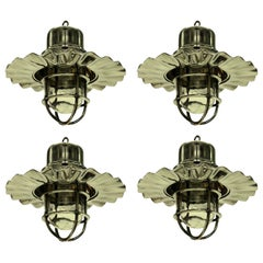 Set of Four Nickel Ship Lights