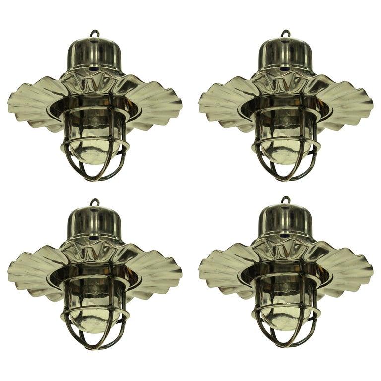 Set of Four Nickel Ship Lights