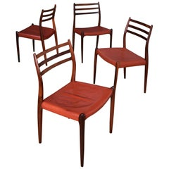 Set of Four Niels Moller Model 78 Brazilian Rosewood Chairs, Original Leather
