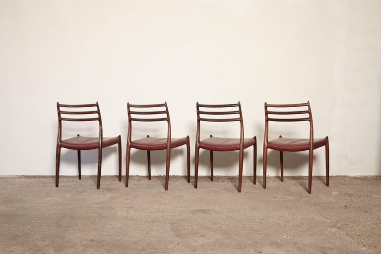 Set of Four Niels O Møller Model 78 Rosewood Dining Chairs, Denmark, 1960s For Sale 4
