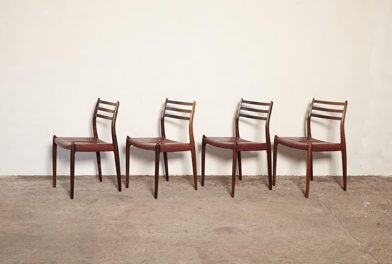 Set of Four Niels O Møller Model 78 Rosewood Dining Chairs, Denmark, 1960s For Sale 5