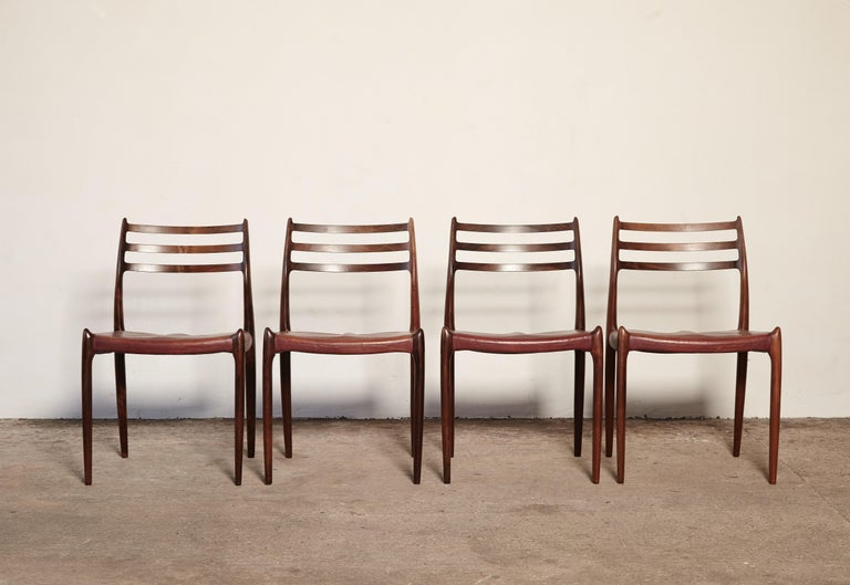 Mid-Century Modern Set of Four Niels O Møller Model 78 Rosewood Dining Chairs, Denmark, 1960s For Sale