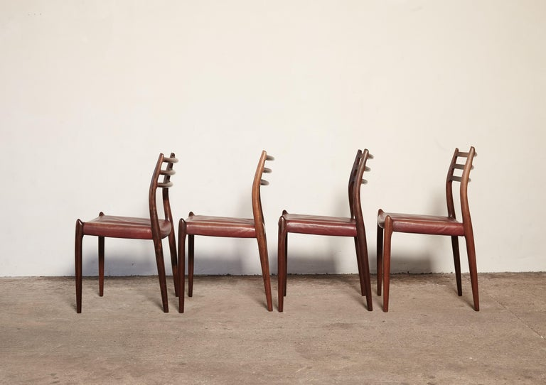 20th Century Set of Four Niels O Møller Model 78 Rosewood Dining Chairs, Denmark, 1960s For Sale