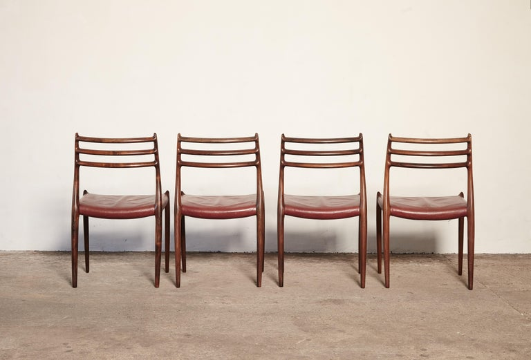 Leather Set of Four Niels O Møller Model 78 Rosewood Dining Chairs, Denmark, 1960s For Sale