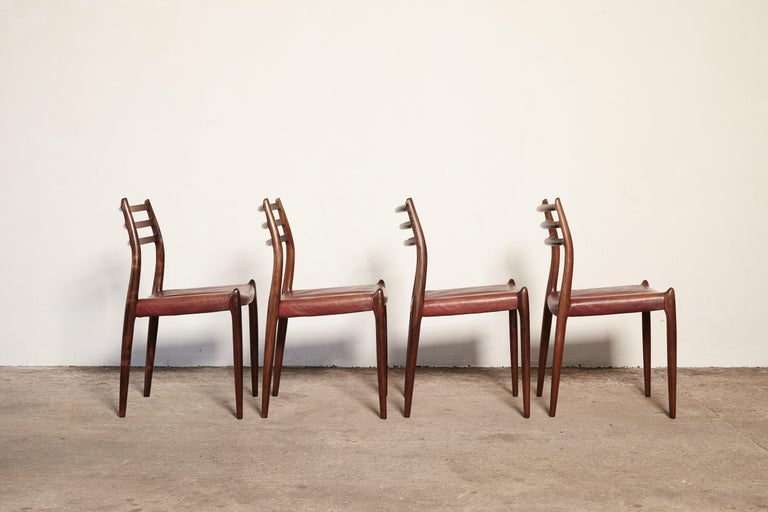 Set of Four Niels O Møller Model 78 Rosewood Dining Chairs, Denmark, 1960s For Sale 1