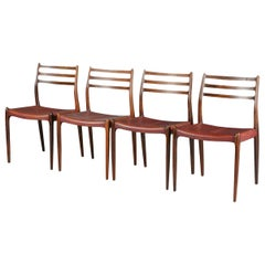 Set of Four Niels O Møller Model 78 Rosewood Dining Chairs, Denmark, 1960s