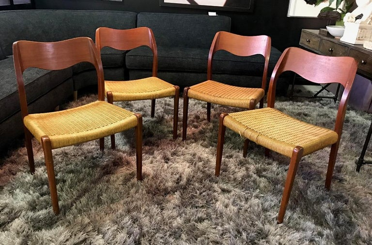 Niels Otto Møller Set of 4 Mid-Century Modern Model 71 Paper Cord Dining Chairs For Sale 11