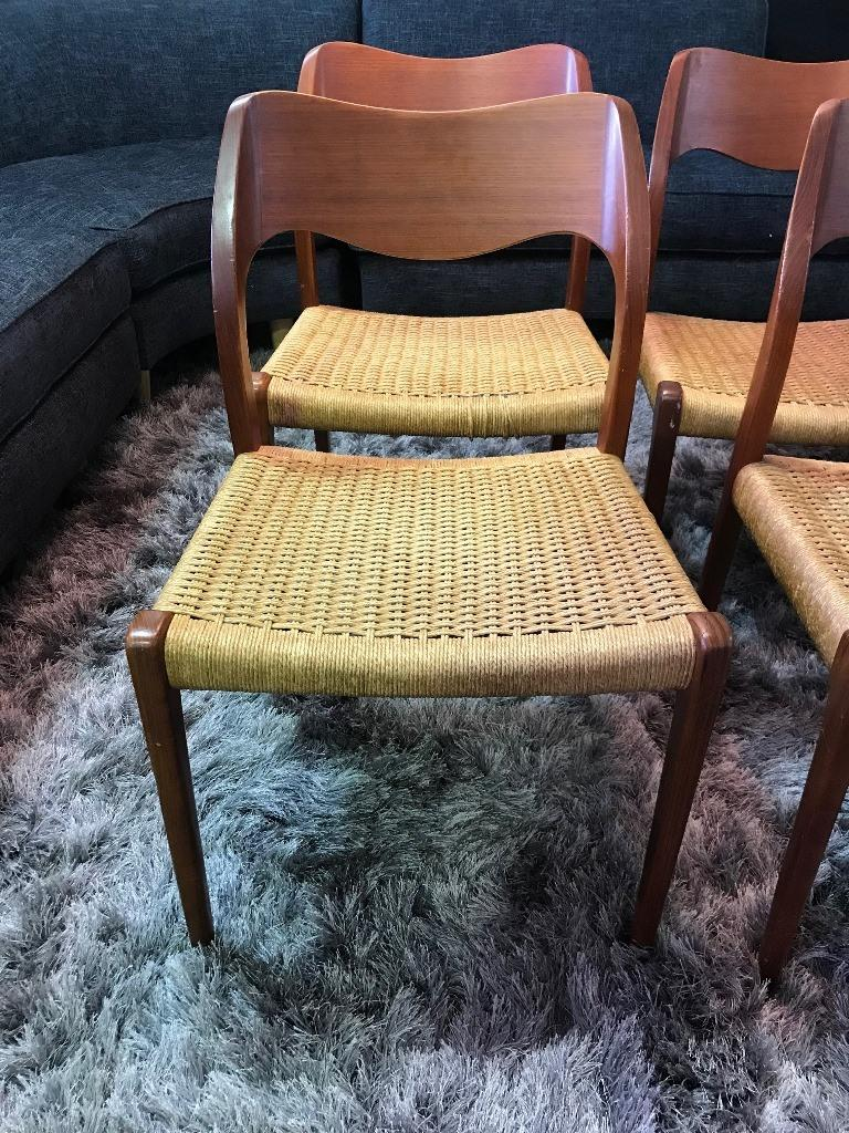 Mid-20th Century Niels Otto Møller Set of 4 Mid-Century Modern Model 71 Paper Cord Dining Chairs For Sale