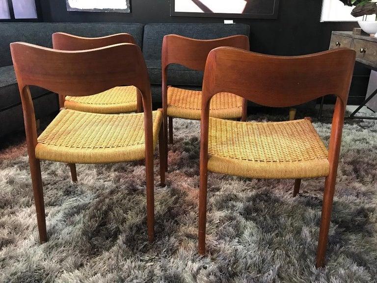 Niels Otto Møller Set of 4 Mid-Century Modern Model 71 Paper Cord Dining Chairs For Sale 1