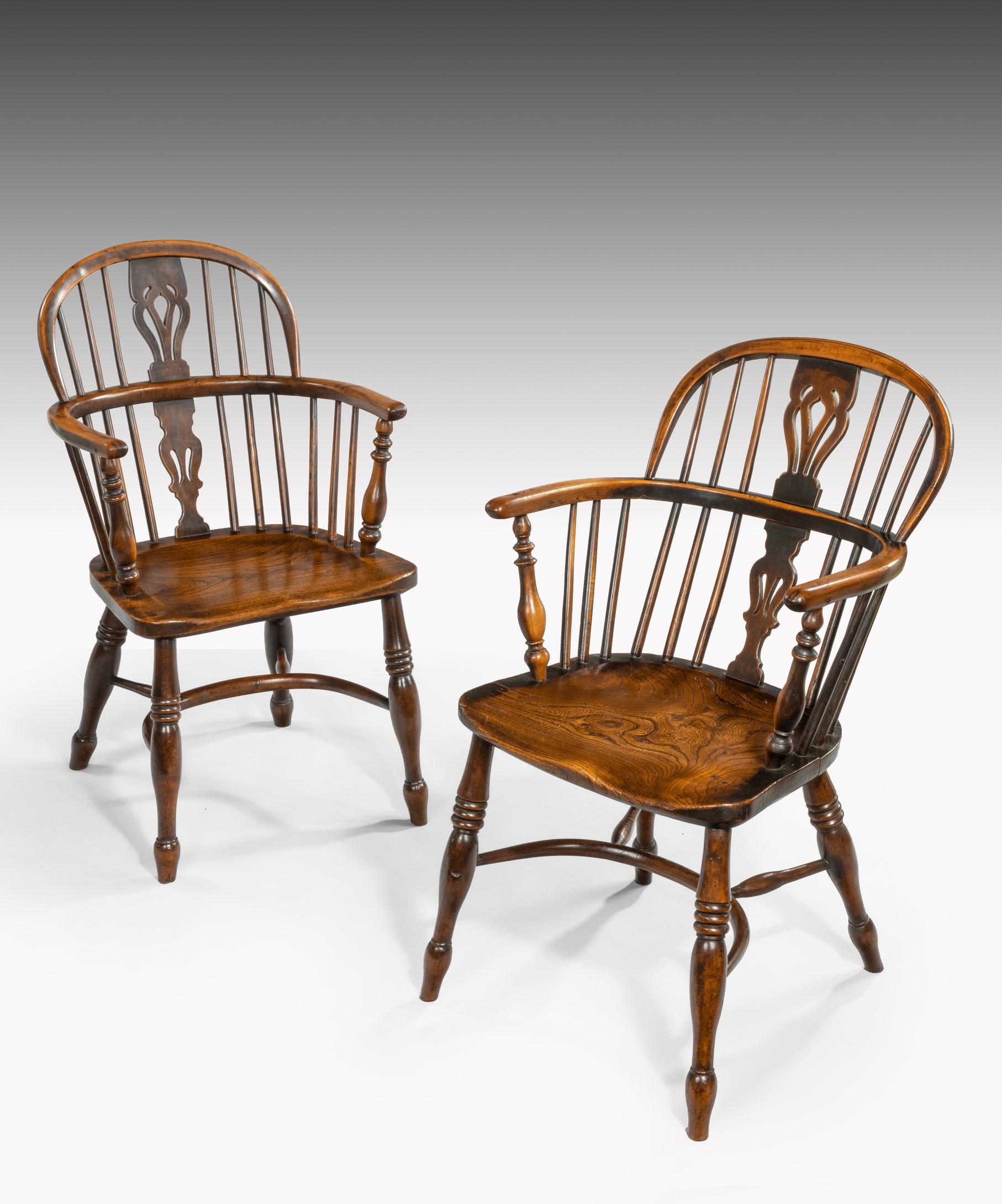 Set Of Four 19th Century Yewwood And Elm Windsor Armchairs