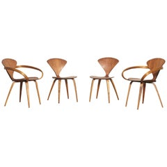 Set of Four Norman Cherner Dining Chairs, Made by Plycraft, USA, 1960s