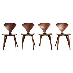 Set of Four Norman Cherner Dining Chairs, Plycraft, USA, 1960s