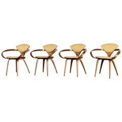 Set of Four Norman Cherner Pretzel Dining Chairs, Made by Plycraft, USA, 1960s