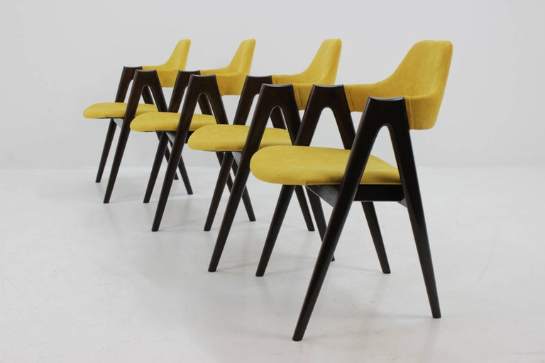 Frame of each one is made from stained solid oak. Newly upholstered. Carefully refurbished.