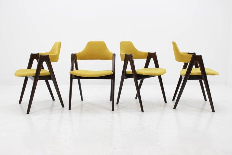 Mid-Century Modern Set of Four Oak Compass Chair by Kai Kristiansen for SVA Møbler