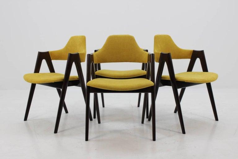 Danish Set of Four Oak Compass Chair by Kai Kristiansen for SVA Møbler