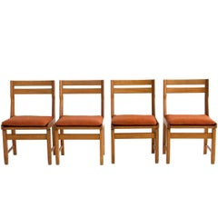 Set of Four Oak Dining Chairs by Guillerme and Chambron, circa 1960, France