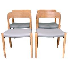 Set of Four Oak Model 75 Dining Chairs by Niels O. Møller for J. L. Møller