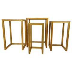 Set of Four Oakwood Nesting Tables by Josef Hoffmann for Wittmann