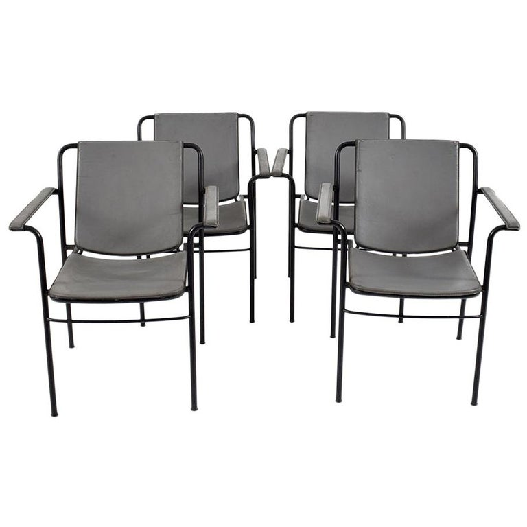 Set of Four Office Chairs in Metal and Leather by FRAU, 1980s