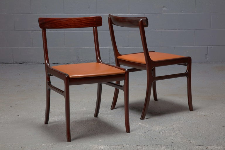 Danish Set of Four Ole Wanscher Mahogany Rungstedlund Dining Chairs with Leather Seats  For Sale