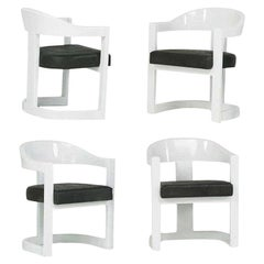 Set of Four Onassis White Lacquer Chairs by Karl Springer