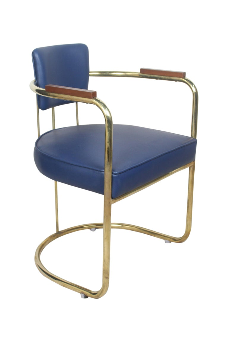 Set of Four or Two Pairs of Brass Captains Chairs with Navy Blue Cushions In Excellent Condition For Sale In Nantucket, MA