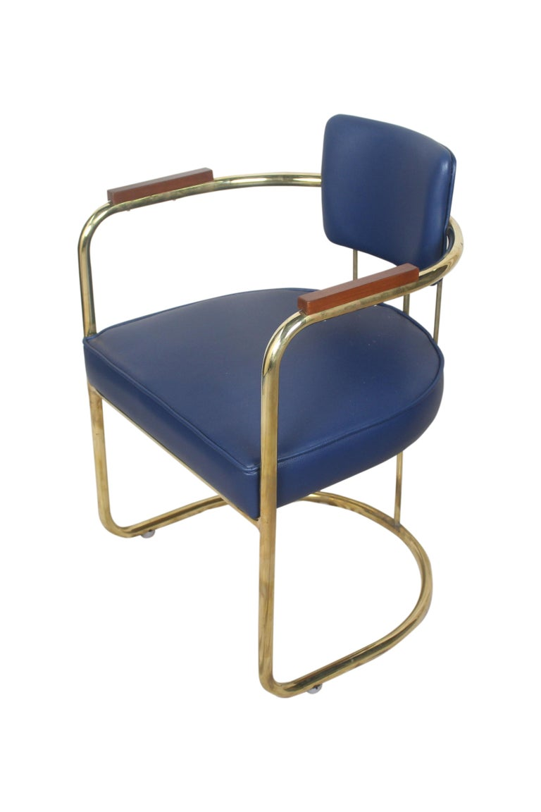 20th Century Set of Four or Two Pairs of Brass Captains Chairs with Navy Blue Cushions For Sale