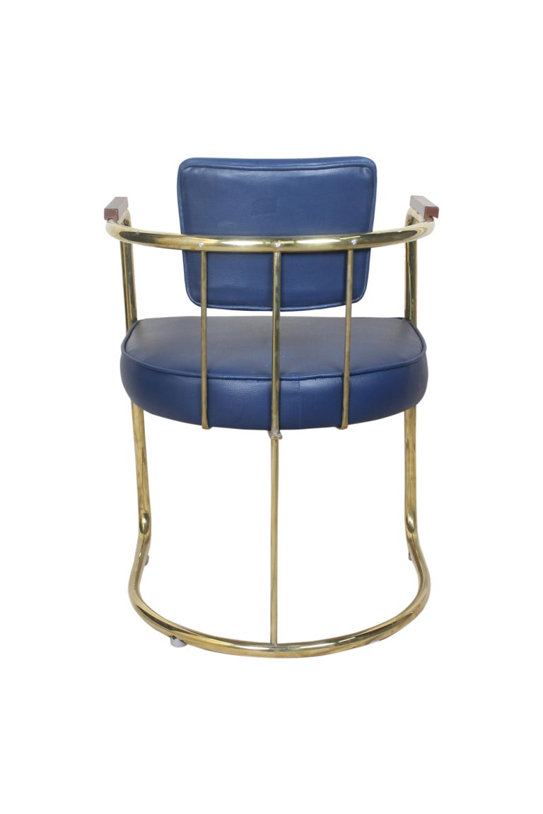 Set of Four or Two Pairs of Brass Captains Chairs with Navy Blue Cushions For Sale 1