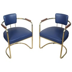 Set of Four or Two Pairs of Brass Captains Chairs with Navy Blue Cushions