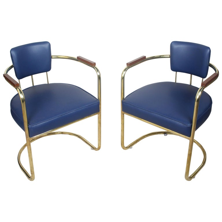 Set of Four or Two Pairs of Brass Captains Chairs with Navy Blue Cushions For Sale