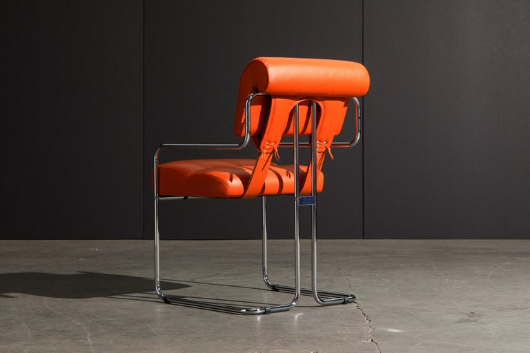 Set of Four Orange Leather Tucroma Chairs by Guido Faleschini for Mariani, New For Sale 4