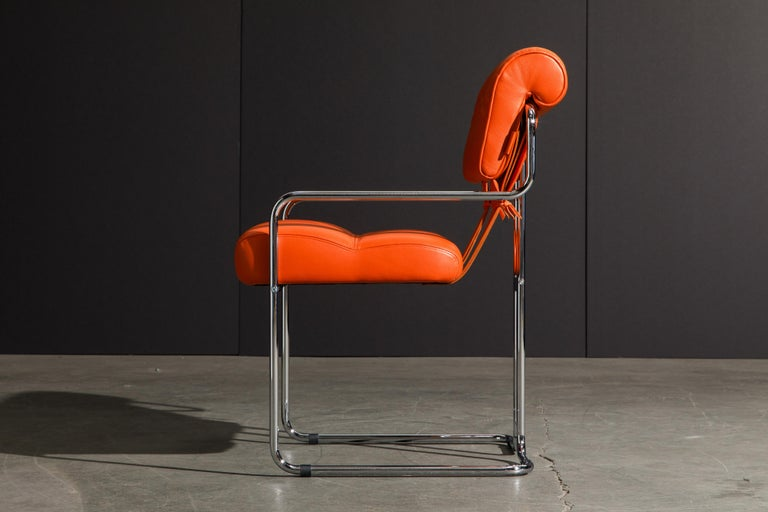 Set of Four Orange Leather Tucroma Chairs by Guido Faleschini for Mariani, New For Sale 5