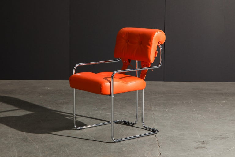 Set of Four Orange Leather Tucroma Chairs by Guido Faleschini for Mariani, New For Sale 6
