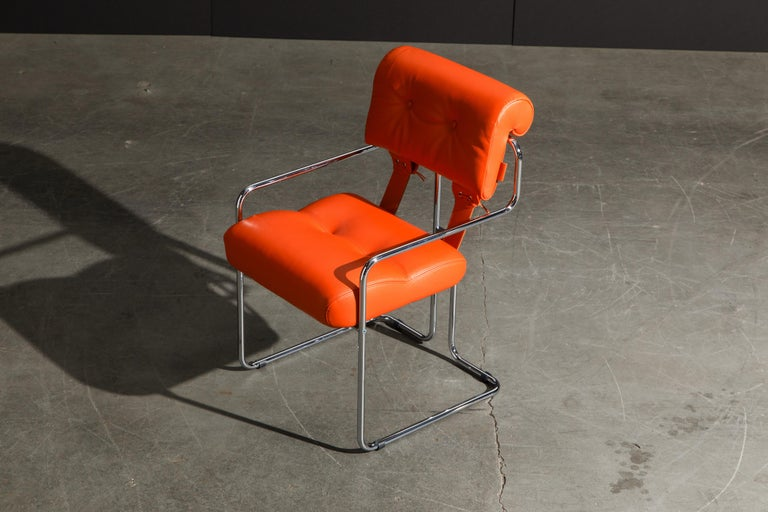 Set of Four Orange Leather Tucroma Chairs by Guido Faleschini for Mariani, New For Sale 7