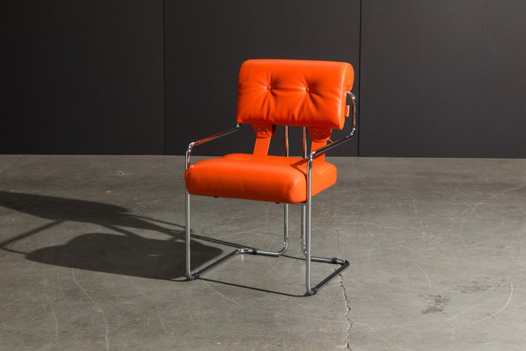 Set of Four Orange Leather Tucroma Chairs by Guido Faleschini for Mariani, New For Sale 8
