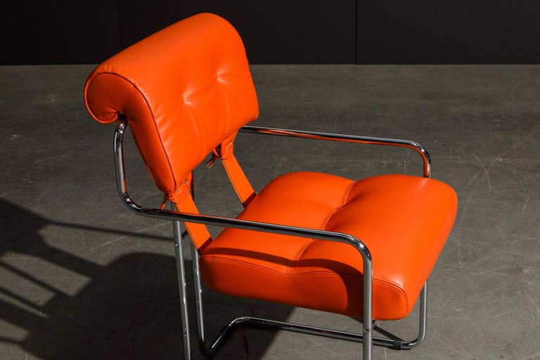 Set of Four Orange Leather Tucroma Chairs by Guido Faleschini for Mariani, New For Sale 10