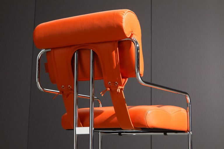 Set of Four Orange Leather Tucroma Chairs by Guido Faleschini for Mariani, New For Sale 11