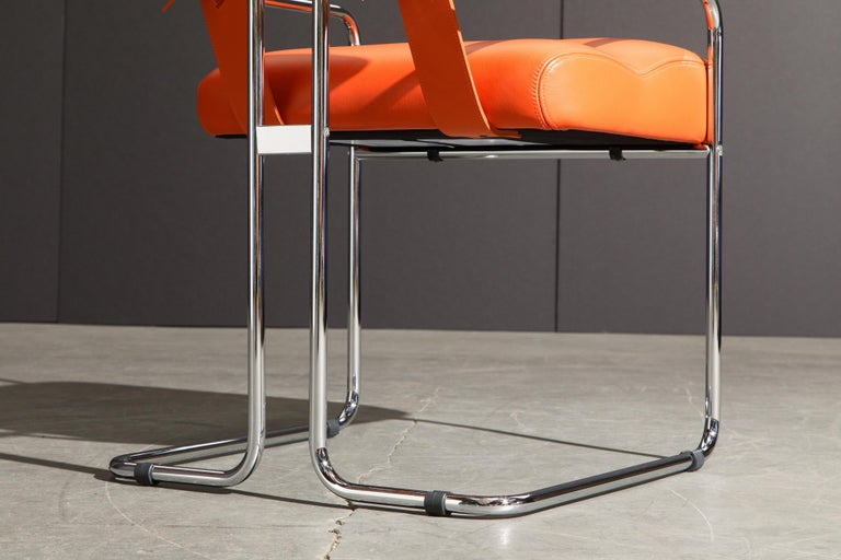 Set of Four Orange Leather Tucroma Chairs by Guido Faleschini for Mariani, New For Sale 12