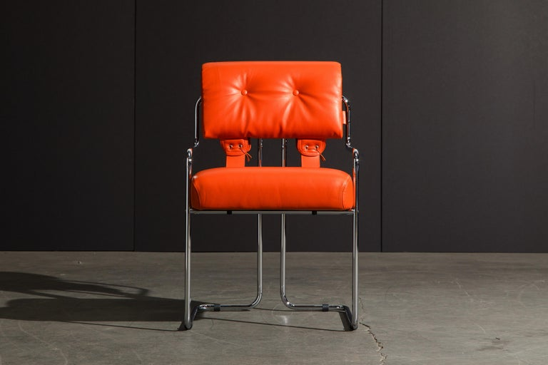 Modern Set of Four Orange Leather Tucroma Chairs by Guido Faleschini for Mariani, New For Sale
