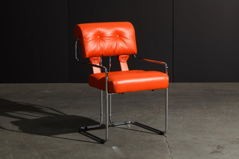 Italian Set of Four Orange Leather Tucroma Chairs by Guido Faleschini for Mariani, New For Sale