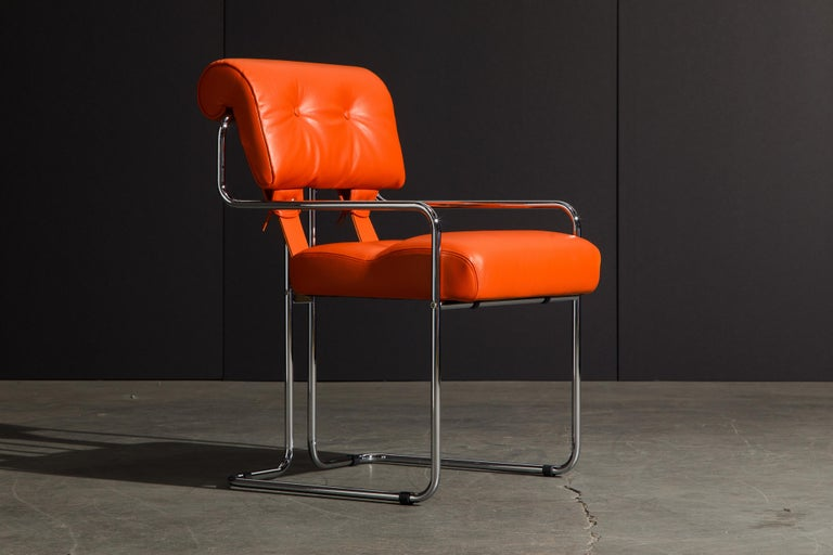 Set of Four Orange Leather Tucroma Chairs by Guido Faleschini for Mariani, New In New Condition For Sale In Los Angeles, CA