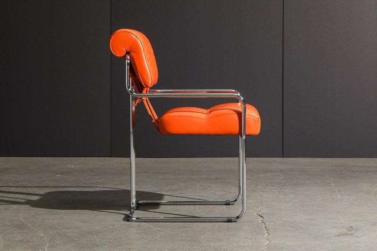 Contemporary Set of Four Orange Leather Tucroma Chairs by Guido Faleschini for Mariani, New For Sale