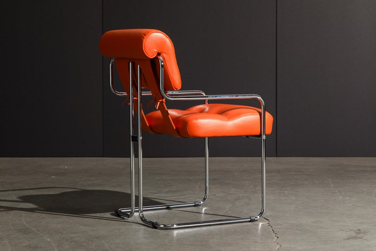 Set of Four Orange Leather Tucroma Chairs by Guido Faleschini for Mariani, New For Sale 1