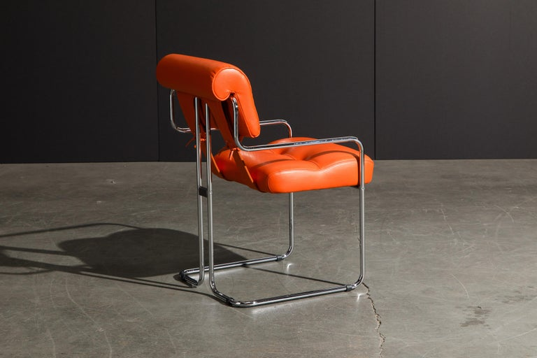 Set of Four Orange Leather Tucroma Chairs by Guido Faleschini for Mariani, New For Sale 2