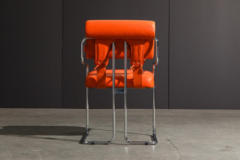 Set of Four Orange Leather Tucroma Chairs by Guido Faleschini for Mariani, New For Sale 3