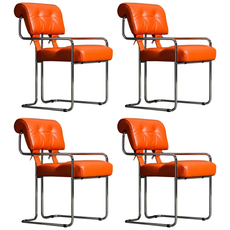 Set of Four Orange Leather Tucroma Chairs by Guido Faleschini for Mariani, New For Sale